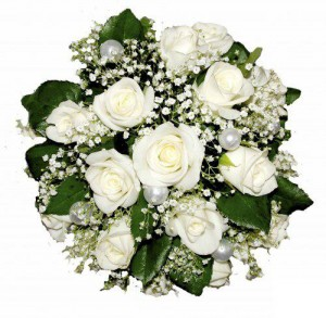 Свадебная композиция из белых роз